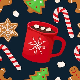 Christmas seamless pattern with hot chocolate marshmallow lollipop gingerbread vector