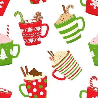 Christmas seamless pattern with hot cocoa, cartoon mugs with holiday drinks.