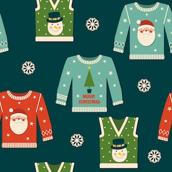 Christmas seamless pattern with jumpers.