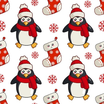 Christmas seamless pattern with kawaii cute penguin