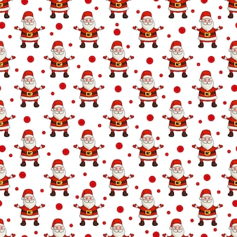 Christmas seamless pattern with kawaii cute santa claus, endless texture