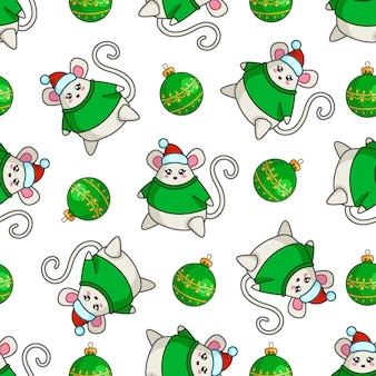 Christmas seamless pattern with kawaii fat mouse in sweater