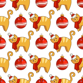 Christmas seamless pattern with kawaii red cat or kitten dressed in santa hat and scarf, decorative balls