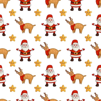 Christmas seamless pattern with kawaii reindeer, cute stars and santa claus
