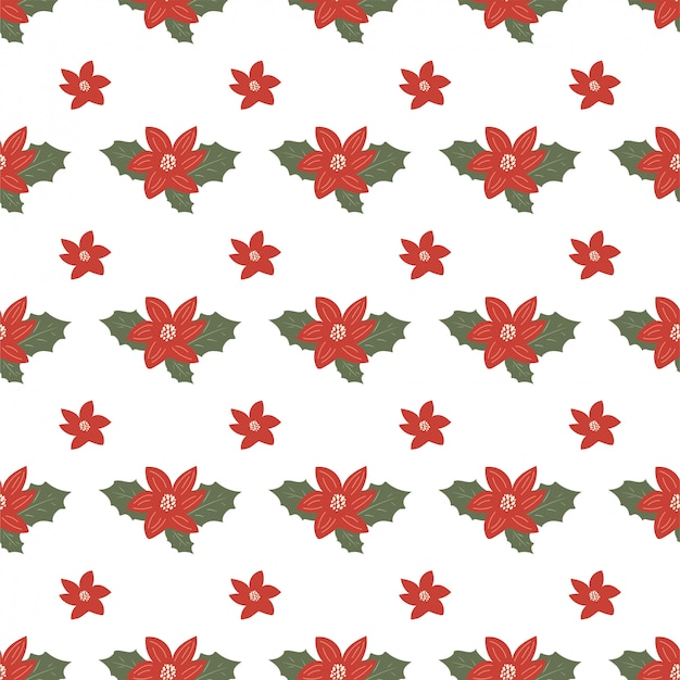 Christmas seamless pattern with mistletoe, holly, flowers in hand drawn style.