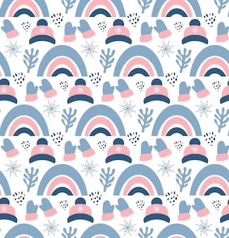 Рождественский фон с рукавицами, шляпами, ветвями и снежинками. идеально подходит для обоев, подарочной бумаги, узоров, текстиля, рождественских и новогодних поздравительных открыток.