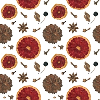 Christmas seamless pattern with oranges and spices and cones