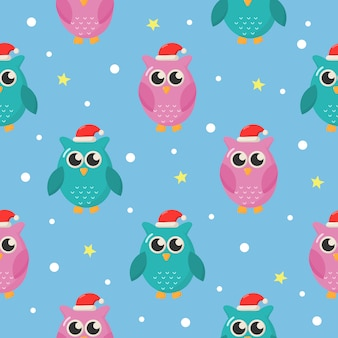 Christmas seamless pattern with owls on blue background.