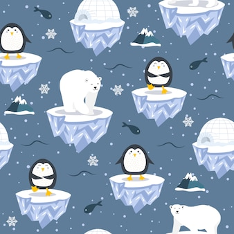 Christmas seamless pattern with penguin on ice floe