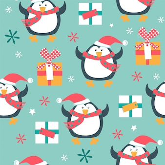 Christmas seamless pattern with penguins.