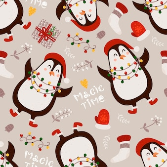 Christmas seamless pattern with penguins