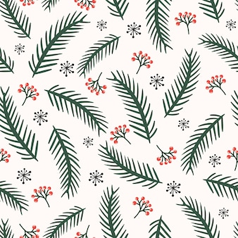 Christmas seamless pattern with pine branches