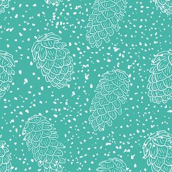 松ぼっくりと雪のテクスチャとクリスマスのシームレスなパターン。伝統的な落書き生地のパターン、新年の包装紙。コーンと冬の青いパターン。グランジベクトルイラスト。
