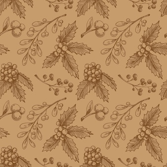 Christmas seamless pattern with plant. sketch, .