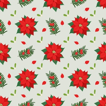 포 인 세 티아, 미 슬 토, 주목 식물 크리스마스 완벽 한 패턴입니다.
