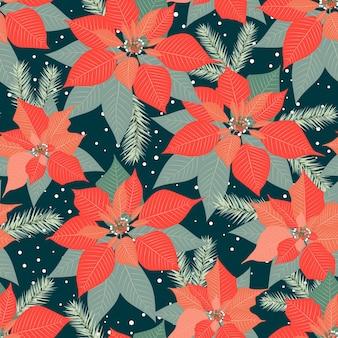 포 인 세 티아 식물 배경으로 크리스마스 원활한 패턴