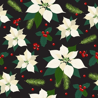 Christmas seamless pattern with poinsettia plant