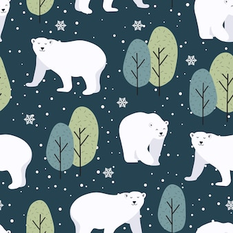 Christmas seamless pattern with polar bear background