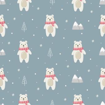 青い背景に分離されたホッキョクグマとクリスマスのシームレスなパターン