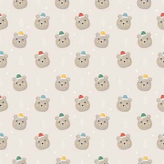 회색 배경에 고립 된 북극곰과 크리스마스 원활한 패턴