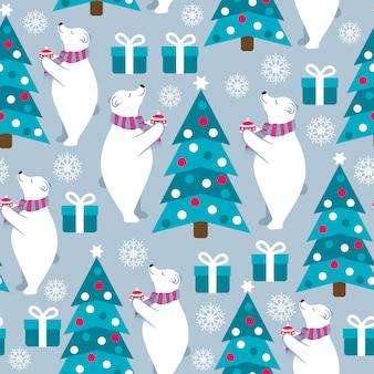 Christmas seamless pattern with polar bears