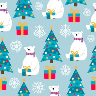Christmas seamless pattern with polar bears