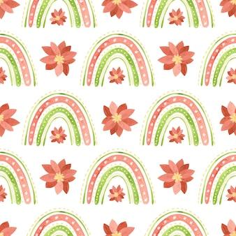 무지개와 포인세티아 꽃 휴일 디지털 종이 크리스마스 원활한 패턴