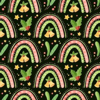 Рождество бесшовные с радугой звенят колокольчики холли листья и еловые ветки праздник
