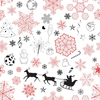 Christmas seamless pattern with red and black snowflakes and xmas symbols on white background
