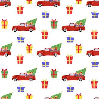 赤い車のクリスマスツリーギフトとクリスマスのシームレスなパターン