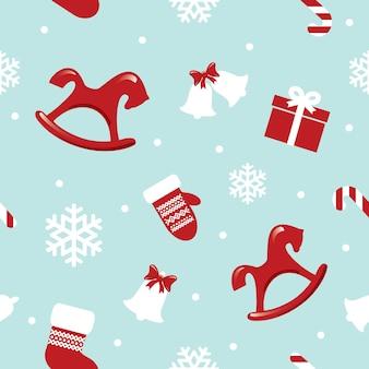 赤い馬とクリスマスのシームレスなパターン。