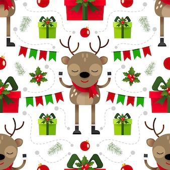 トナカイとギフトボックスとクリスマスのシームレスなパターン