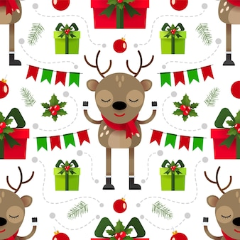 Christmas seamless pattern with reindeer and gift boxes