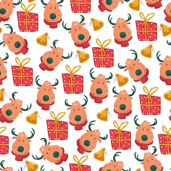 Christmas  seamless pattern with reindeer head, gift box and gold bell on a white background.