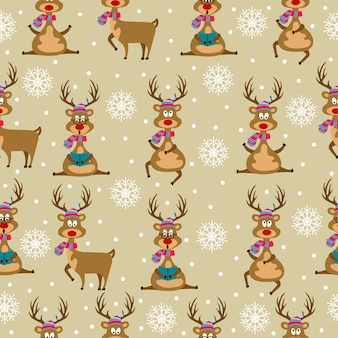 Christmas seamless pattern with  reindeers and snowflakes