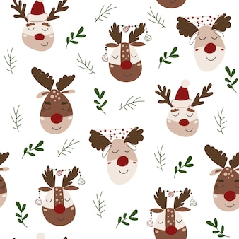 Christmas seamless pattern with reindeers. vector illustration.