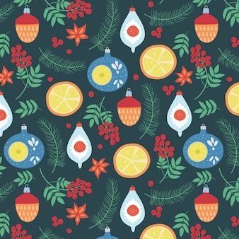 Christmas seamless pattern with retro glass toys,