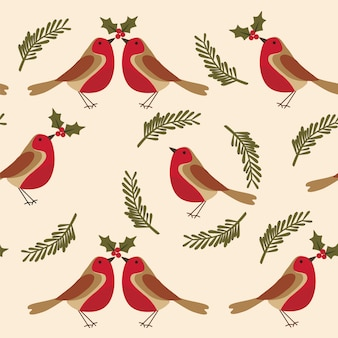 Christmas seamless pattern with robin bird and holy berries.