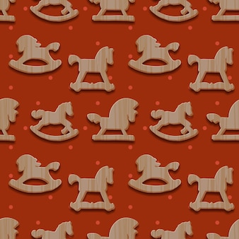 Christmas seamless pattern with rocking toys horses