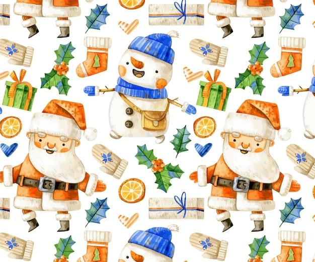 Рождественский фон с дедом морозом и снеговиком