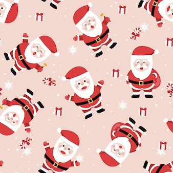 Christmas seamless pattern with santa background