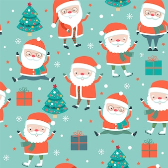 Christmas seamless pattern with santa on  blue background.