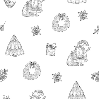 Christmas seamless pattern with santa christmas tree gift sock wreathpoinsettia in doodle style