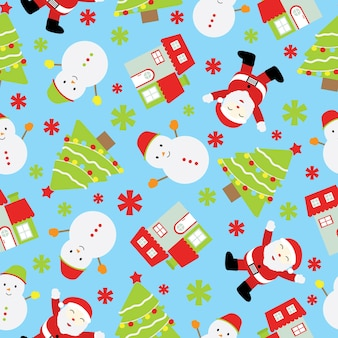 Christmas seamless pattern with Santa Claus, and snowman on blue background