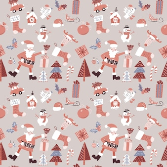 Christmas seamless pattern with santa claus, bird and toys.