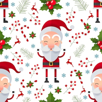 Christmas seamless pattern with santa claus character
