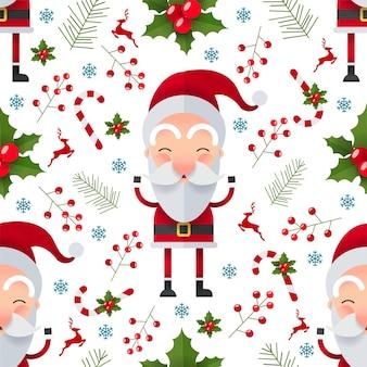 サンタクロースのキャラクターとクリスマスのシームレスなパターン