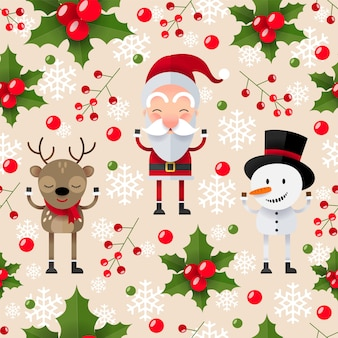 Christmas seamless pattern with santa claus, deer and snowman