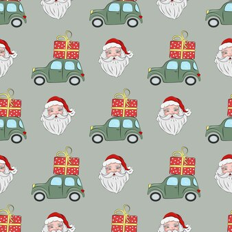 Christmas seamless pattern with santa claus and green car with a gift on the roof