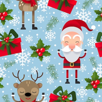 Christmas seamless pattern with santa claus, reindeer and gift